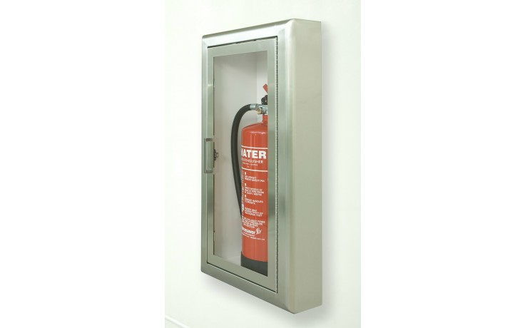 Arc Single Extinguisher Cabinet Semi Recessed Stainless Steel