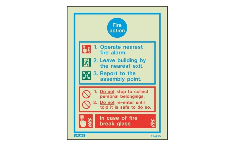 General Fire Action Notice Sign 200 X 150 (25425D/R)