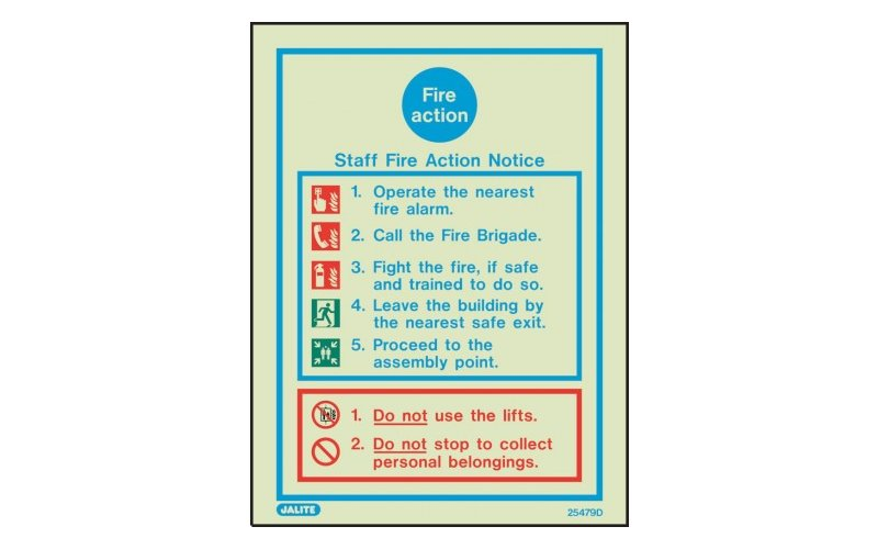 Staff Fire Action Notice Sign 200 X 150 (25479D/R)