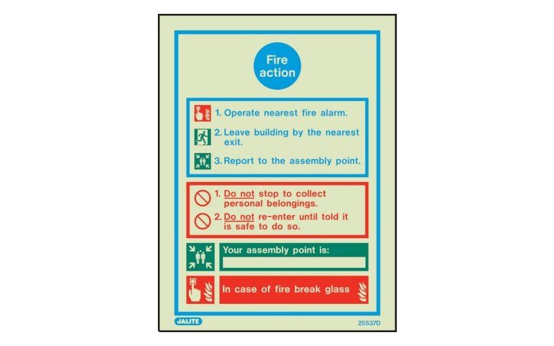 General Fire Action Notice,Space For Assembly Point 200 X 150