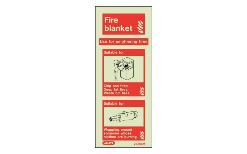 Fire Blanket ID Sign Photoluminescent (200mm x 80mm)