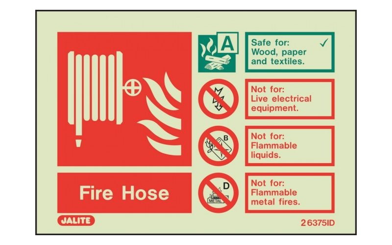 Fire Hose ID Sign Photoluminescent (100mm x 150mm)