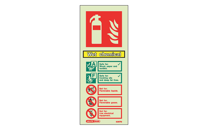 Wet Chemical ID Sign Photoluminescent (200mm x 80mm)