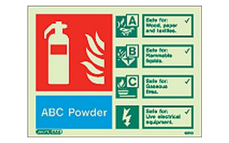 ABC Powder ID Sign Photoluminescent (100mm x 150mm)