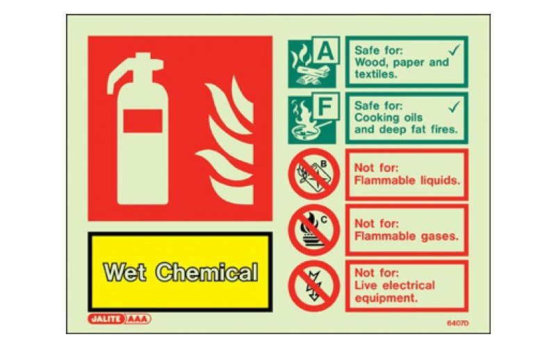 Wet Chemical ID Sign Photoluminescent (100mm x 150mm)