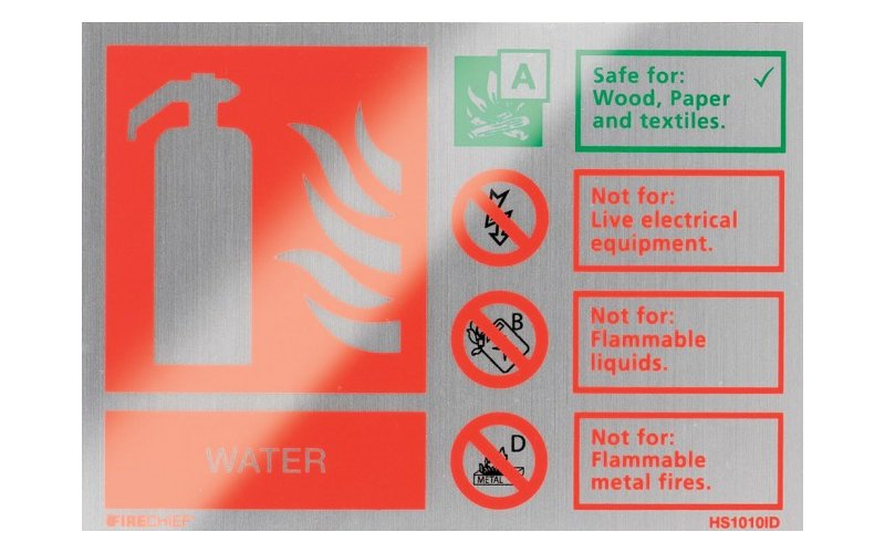 Brushed Aluminium Water Extinguisher ID (105mm x 150mm)