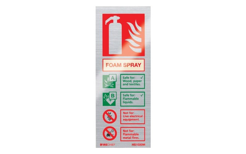 Brushed Aluminium Spray Foam Extinguisher ID (200mm x 80mm)