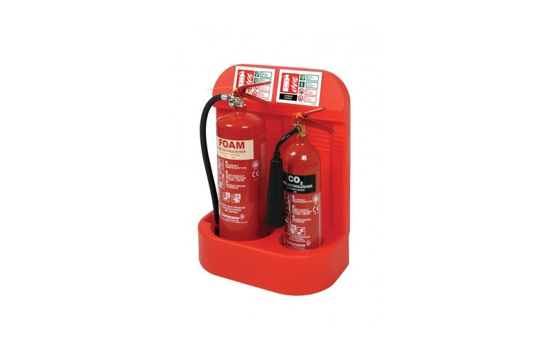 Double Extinguisher Stand With Recessed Base (HS26/RED)